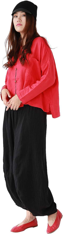 OUTLINE Womens Original Brand MidWaist Loose Long Linen Harem Pants