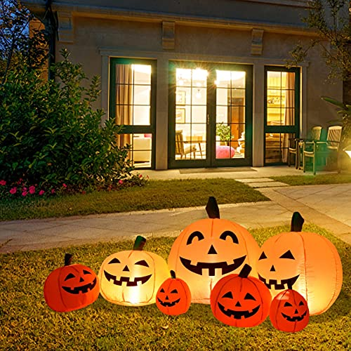 Shakven 90 Inch Long Halloween Inflatable Decorations Pumpkin, Outdoor Holiday Decor Blow Up Halloween Yard Decor, LED Lights Inflatables Outdoor Garden Lawn Halloween Decor