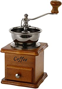 Manual Coffee Grinder, Wooden Coffee Mill Vintage Retro Hand Grinder (A)