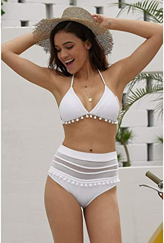 L'europe et Les états-Unis modèles d'explosion Bikini Gland Les Les dames Maillot de Bain Maillot de Bain Taille Haute Split bikinii (Couleur  Blanc, Taille  M)