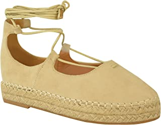 Fashion Thirsty Womens Lace Up Strappy Low Flat Canvas Wedge Espadrilles Sandals