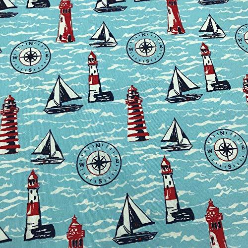 Kt KILOtela Tela por Metros de loneta Estampada Digital - Ancho 280 cm - Largo a elección de 50 en 50 cm   Marinero, veleros, Faros - Azul, Rojo, Blanco