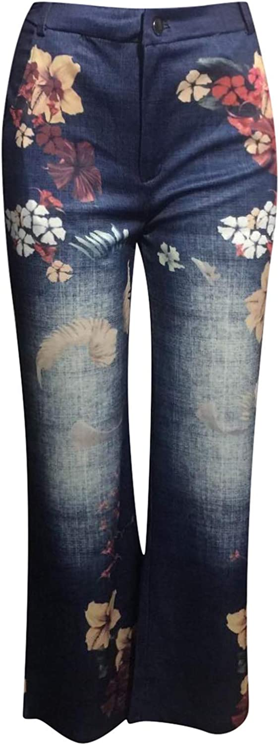 Vintage Wide Leg Jeans for Women Retro Floral Printed Casual Long Pants with Pockets Loose Streetwear