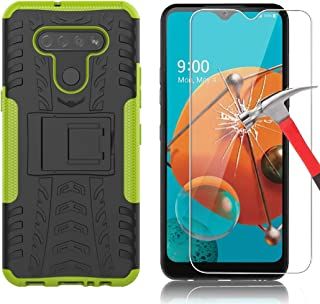 Yiakeng LG K51 Case with Screen Protector Shockproof Silicone Protective with Kickstand Hard Phone Cover for LG K51 (Green)