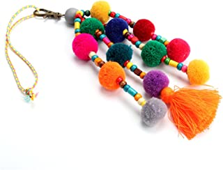 Colorful Pom Pom Beads Tassel Bag Charm Pendant Keyring Keychain for Women Purse Handbag Decor