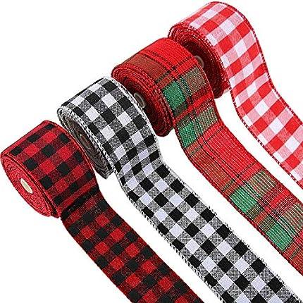 4 Rollos de Cinta de Arpillera a Cuadros de Navidad con Alambre para Envolver Cinta de Varios Colores para Decoración de Manualidades de Navidad