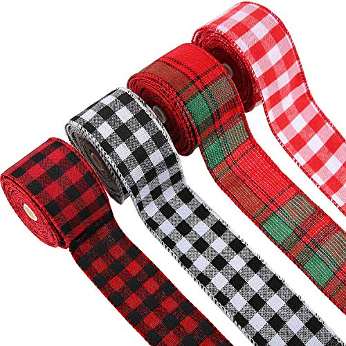 4 Rolls Buffalo Ribbon Christmas Plaid Burlap Ribbon Red Black White Wired Edge Ribbon for DIY Wrapping Crafts Decoration, 26.4 Yards x 1.97 Inches, 4 Colors