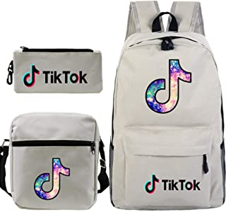 TIK tok Mochila de Transferencia de Calor TIK Tok Mochila Escolar para Estudiantes + Bolso de Hombro pequeño + Bolígrafo Conjunto de Tres Piezas - Blanco