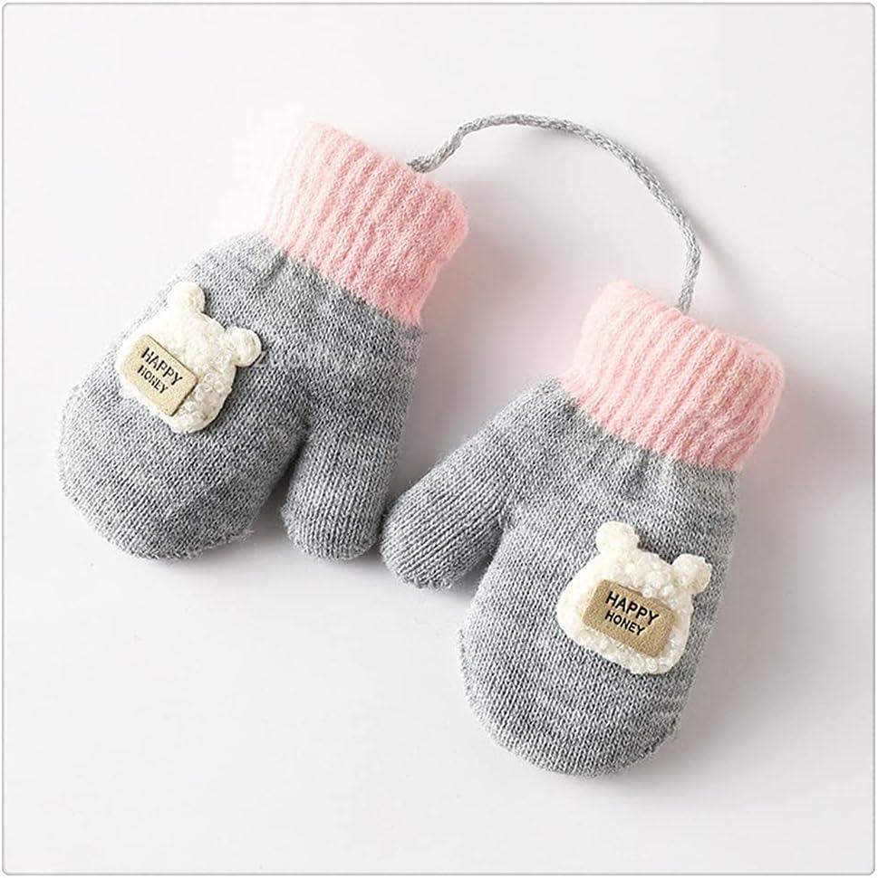 WBDL Cartoon Baby Mittens Winter Warm Kids Baby Girl Gloves Knitted Children Toddler Teething Mitten Winter Gloves Kids