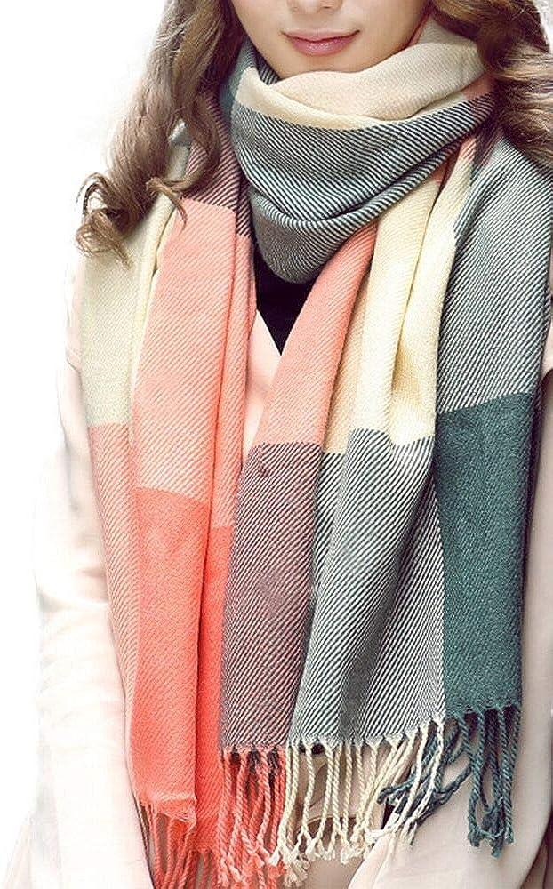 Vercico Women Warm Check Tartan Long Shawl Warp Scarves Scarf Pink Grey for Winter