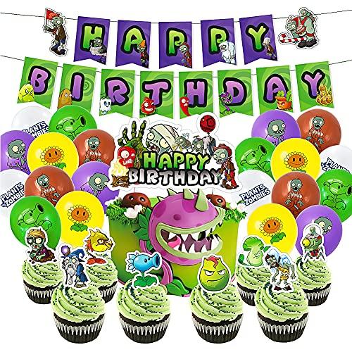 CYSJ Plants Vs Zombies Themed Decoraciones de Fiesta 46 Pcs Artículos para la Fiesta de Plants Vs Zombies, Pancarta de Feliz Cumpleaños Globos y Adornos para Tartas