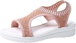 Fankle Women's Sandals Comfortable Mesh Walking Flat Open Toe Summer Shoes for Walking/Hiking/Travel/Water Spot/Beach(Rose...
