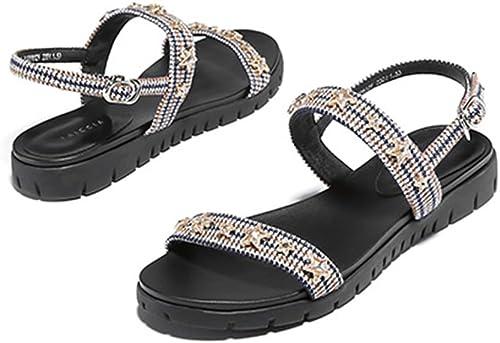 JIANXIN Sandale Talon Talon Plate-Forme Sandale Femmes été Une Mot Boucle Dehors Portant Un Foret d'eau Occasionnel (Couleur   Le Jaune, Taille   EU 35 US 5 UK 3 JP 22.5cm)
