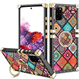 Vofolen for Galaxy S20 Plus Case S20+ Ring Holder Kickstand Exotic Colorful Square Diamond Crystal Anti-Shock Protective Rubber Shell Anti-Slip Finger Loop for Samsung Galaxy S20+ 6.7 Mandala Flower