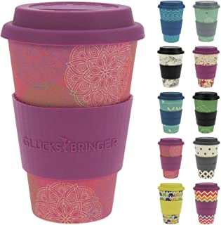 ebos Lucky Charm Coffee Cup with Silicone lid | Made with Organic Natural Bamboo Fibre | Various Designs (Mandala Spirit Pink)