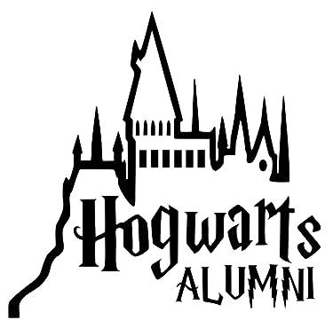 "Signage Cafe Hogwarts Alumni Castle Car Truck Vinyl Decal Art Wall Sticker Harry Potter Movies Books (Black, 6"")"