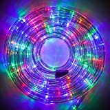Twinkle Star LED Rope Lights Outdoor, 33 FT 240 LED, Low Voltage, Connectable Indoor Outdoor Garden Patio Party Weddings Christmas Decoration, Multicolor