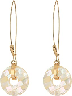 Geometric Faceted Shell Ring Long Drop Earrings