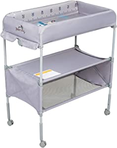 Kinbor Baby Changing Table with Wheels Adjustable Height Folding Diaper Station Nursery Organizer for Infant
