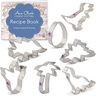 Ann Clark Cookie Cutters 7-Piece Dinosaurs Cookie Cutter Set with Recipe Booklet, T-Rex, Brontosaurus, Stegosaurus, Dinosaur Foot, Egg and Palm Tree