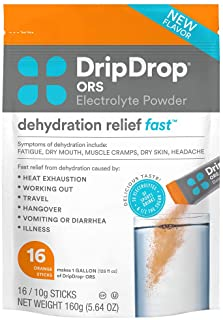 DripDrop ORS - Patented Electrolyte Powder For Dehydration Relief Fast - For Hangover, Heat Exhaustion, Illness, Sweating ...