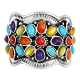 Sterling Silver Gemstone Ring with Genuine Turquoise (SELECT color) (Multi, 8)