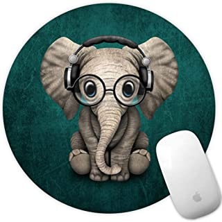 Marphe Mouse Pad Green Pattern Headset Music Elephant Mousepad Non-Slip Rubber Gaming Mouse Pad Round Mouse Pads for Compu...