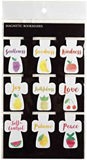 Fruit of The Spirit Crosses 2 x 1.25 inches Vinyl Magnetic Bookmarks Set of 9