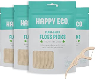 Natural Dental Floss Picks (200 Count) - Vegan, Sustainable, Eco-Friendly Flosser with Tooth Pick Flossers for Adults and Kids- Plaque Remover for Fresh Teeth Cleaning - Zero Waste Oral Care (Mint)