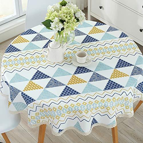 Mantel redondo para mesa de comida, tableta, impermeable, antiaceite, (color: colección, tamaño: 90 redondo)