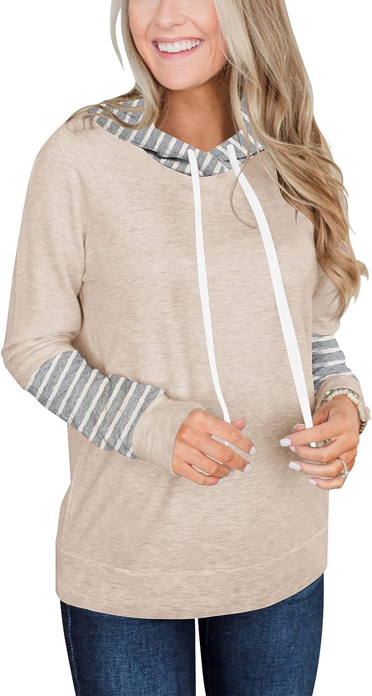 Dailiup Women's Casual Striped Hoodies Basic Long Sleeve Lightweight Pullover Loose Drawstring Sweatshirt Crew Neck Tops
