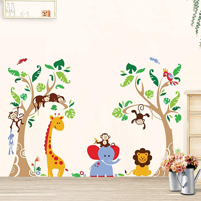 Runtoo Cute Jungle Animals Trees Wall Decals Monkey Elephant Giraffe Wall Stickers Kids Bedroom Baby Nursery Room Wall D Cor