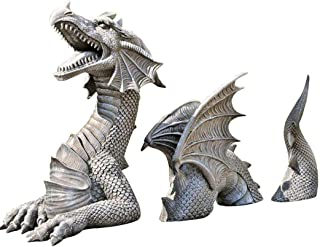 Large Dragon Garden Decor Statue - The Dragon of Castle Moat Lawn Statue, Garden Sculptures & Statues, Funny Outdoor Figur...