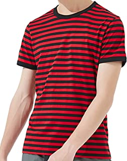 Ezsskj Men's Black and White Striped T Shirt Short Sleeve Crew Neck Tee Outfits Tops