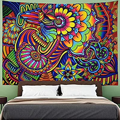 Amhokhui Trippy Arabesque Tapestry Hippie Mandala Flowers Tapestry Psychedelic Abstract Colorful Tapestry Wall Hanging for Bedroom H51×W59