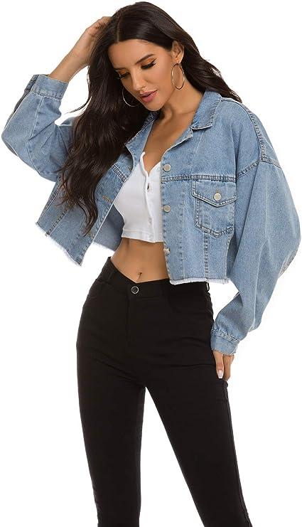 Oversized cropped denim jean jacket for women | Street Style blue jean jacket for fall wardrobe