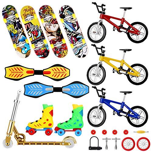 22 PCS Mini Finger Toys Set, Finger Skateboards Fingerbord Finger Bikes Finger Scooter Roller Skates Tiny Swing Boards Fingertip Movement Party Favors Educational Finger Toy for Kids with Wheels Tools