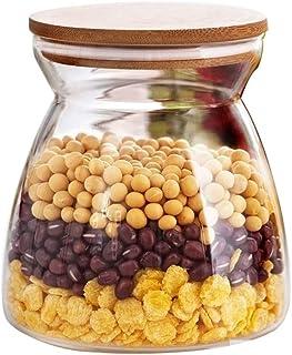 1pc verre de stockage des aliments Bouteille Bamboo Grains Cover Sealed noix réservoir peut Cuisine tri alimentaire Boîte ...