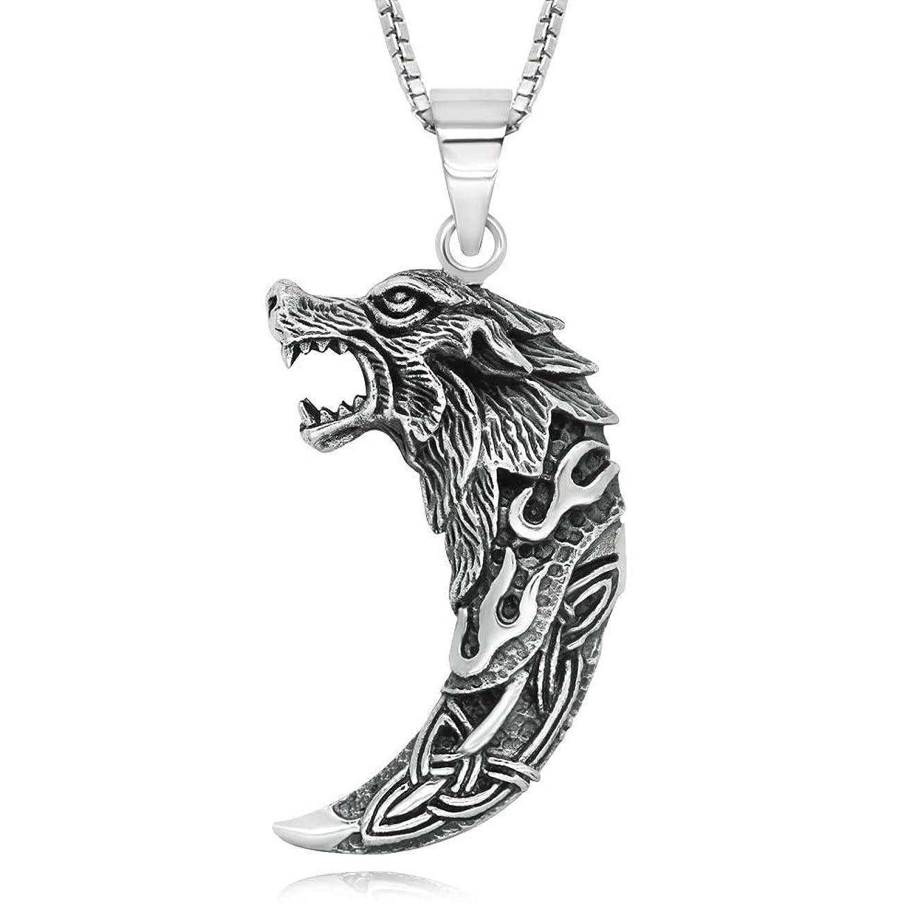 間違いコジオスコ染色925スターリングシルバー ケルト 狼の歯 ペンダントネックレス 18インチ