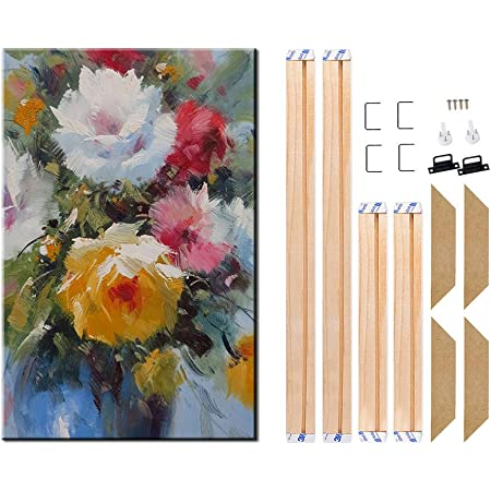 Lushandy Wooden Frame for Canvas Painting 16x20 Inch Easy to Build Canvas Stretching System Framed Picture Accessories - Wooden Art Frames for Paintings /& Canvases