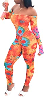IyMoo Bodycon Jumpsuits for Women Sexy 2020 - Bell Sleeve Off Shoulder Tube Printed Skinny Long Pant Club Romper