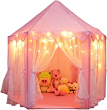 Orian Princess Castle Tent Playhouse with Bonus LED Star Lights – Indoor and Outdoor Large Hexagon Children Play Tent for Imaginative and Pretend Games – ASTM Certified, Kids Gift 55 x 53 inch (Pink)