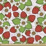 ABAKUHAUS Blumen Gewebe als Meterware, Erdbeeren