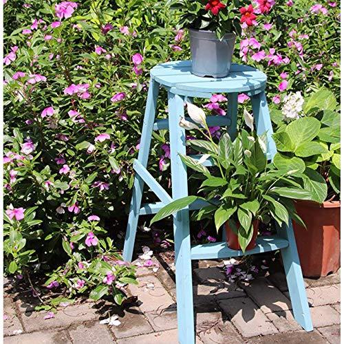 Suministros de jardinería, soporte de flores retro del piso al techo, soporte de flores pequeñas de tres capas, soporte de flores de interior de almacenamiento trapezoidal(Color:B)