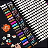Metallic Marker Pens,Fine Point Smooth Painting Pen for Black Paper,DIY Card Making, Coloring Books,Easter Egg, Scrapbook Photo Album, Rock Art, Glass Christmas Back To School Gift (20 Colors)