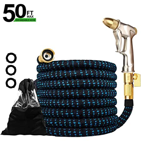 3//4 Solid Brass Connectors and 9-Way High Pressure Hose Nozzle for Lawn Garden Upgraded Expandable Garden Hose 50 FT 100FT Retractable Water Hose with 4-Layers Flex Strong Latex Patio