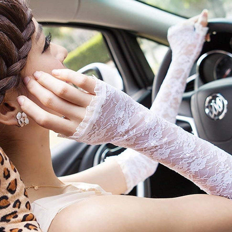 一般銀のみグローブレディース 指なし アームカバー 薄手 紫外線対策 ロング レース 夏日焼け止め手袋フ