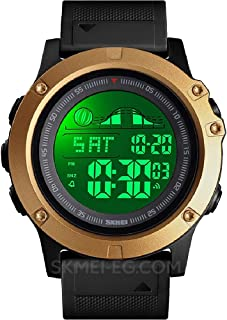 SKMEI Time and Day Display Date Waterproof Sports Watch with Alarm Clock Gold Bracelet Black