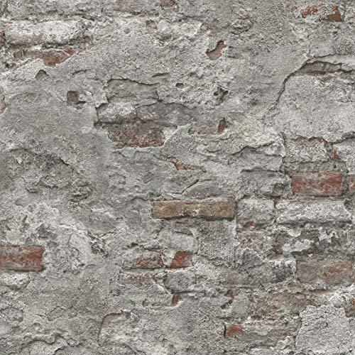 Rasch Tapeten 939330 Vliestapete in Stein-Optik – 10,05m x 53cm (L x B) Vlies Tapete Rasch Kollektion Factory III, Grau, 10,05-0,53