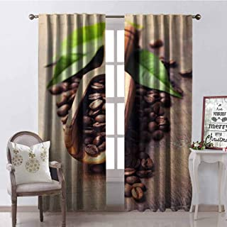 GloriaJohnson Coffee Wear-Resistant Color Curtain Beans on The Old Table Morning Drink Waking Up Rustic Theme Leaves Beans Waterproof Fabric W52 x L63 Inch Pale Caramel Green